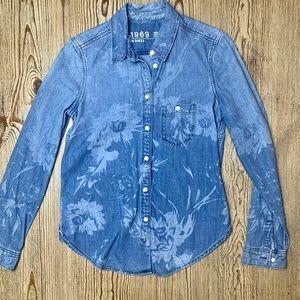 GAP 1969 Floral Denim Shirt